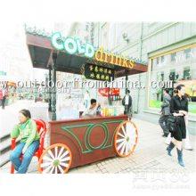 天津海边购物亭定做,景区移动饮料商铺,实木售卖车厂家