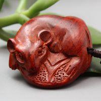 正品印度小叶紫檀雕刻老鼠数钱手把件 小叶紫檀挂件礼品批发