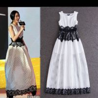 欧美女装 明星同款 高端大气拼蕾丝网纱连衣裙 长裙 Y3549