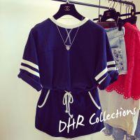 DHR 2015夏季新款韩国代购韩版宽松T恤短裤运动休闲套装两件套女