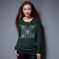 初秋新款进口美国网纱刺绣打底衫 韩版真丝大码宽松长袖女式T恤
