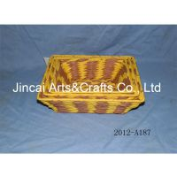 博白编织工艺品 彩色纸绳编织篮子 方形桌面收纳整理篮子批发