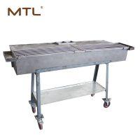 移动烧烤炉带轮子烧烤炉操作台调料盒烧烤炉烧烤架烧烤车MTL107