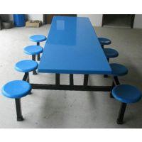 鑫顺玻璃钢厂家直销八人连体直条快餐桌_钦州快餐桌椅厂家
