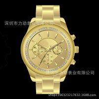手表厂家供应韩版粘钻石女士时尚手表 间玫不锈钢带配金属壳手表