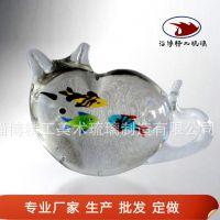 卡通小动物摆件 琉璃小猫爱吃鱼 创意儿童书桌纸镇 小摆件