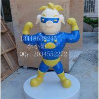 玻璃钢猪猪侠雕塑 超人强雕塑 卡通动漫雕塑定做 玻璃钢卡通雕塑