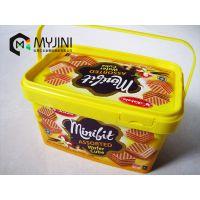 模内贴标饼干盒、糖果盒、食品盒,单提手小盒子,迈晋亿食品塑料包装生产厂家