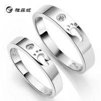 雅菲妮S925纯银饰品 爱的足迹可爱韩版情侣戒子戒指 精品礼物