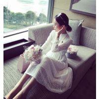 小银子2015春装新款 韩版仙女范显瘦松紧腰蕾丝连衣裙女长裙Q3121