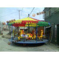 河南简易转马加工厂,孩子们玩的玻璃钢制作的旋转木马