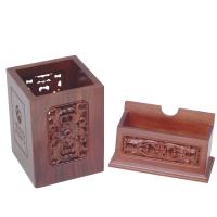 木质镂空文具定制 商务礼品套装 木质镂空笔筒 木名片盒