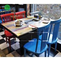 主题韩式烧烤桌 工业风烧烤桌 多多乐家具批发涮烤一体餐桌
