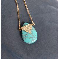 欧美外贸饰品 秋冬新品 长款镶钻绿松石项链 毛衣链
