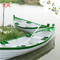 楚风定制小木船公园欧式旅游观光儿童游乐手划船钓鱼景观装饰渔船