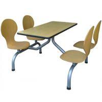 四人位肯德基快餐桌椅 连体食堂餐桌椅 曲木椅职工餐厅桌椅 快餐店桌椅中式快餐桌椅厂家直销 连体一桌四