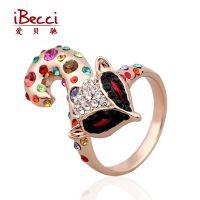 贝驰 欧美速卖通手饰 高品质保色电镀水钻指环 瑞丽水晶狐狸戒指