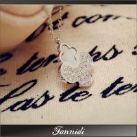 代发时尚 钛钢镀白金18K 玫瑰金镶钻 非常 幸运四叶草贝壳 项链