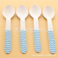 创意婚庆用品派对餐饮用品印蓝色条纹圆点波浪纹一次性木制刀叉勺