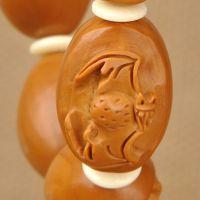 福在眼前橄榄核雕核雕精品蝙蝠捧福橄榄核十全富贵手串手链