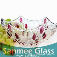 蚌埠工厂供应三美家用盘子 不规则喷色玻璃盘子 出口欧美 多色