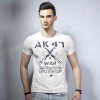 2015夏季新款纯棉圆领打底衫字母枪印花图案男士短袖T恤 男 潮