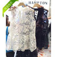 2015夏装纱网蕾丝打底衫 淘宝一件代发韩国东大门款 透视蕾丝衫