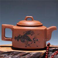 宜兴紫砂壶 原矿降坡泥四方壶 牧牛紫砂茶壶