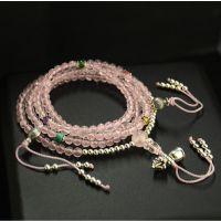 设计 小家碧玉 925纯银 天然巴西粉晶 手串手链