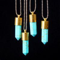 新款 速卖通 欧美外贸饰品 金色绿松石 子弹形状 六角柱 水晶项链