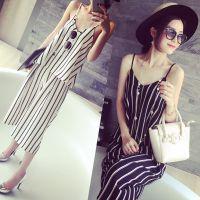 小银子2015夏装新款洋气清凉吊带+松紧腰七分裤套装D5105