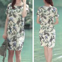 2015夏季新款 日系森女 植物印花圆领短袖露肩棉麻连衣裙 XDWM
