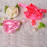 现货直销一分带叶玫瑰花 服饰内衣装饰 DIY服装辅料 手工缎带小花