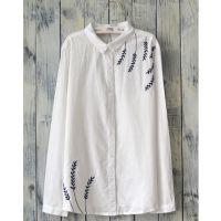 2014秋装新款森系刺绣纯棉长袖白衬衫女休闲打底衫衬衣宽松薄外套