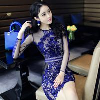 夜店装2014冬季女装新款韩版高级定制菁菁同款蓝色蕾丝性感连衣裙