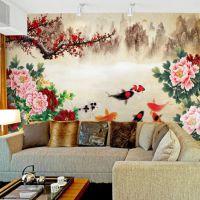 大型壁画 中式壁纸 电视沙发床头背景墙纸 九鱼图/牡丹/梅花/山水