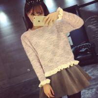 韩版秋冬款小清新木耳边学生短款女士针织打底衫 加厚套头毛衣女