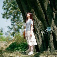 森林系日系文艺复古森女棉麻碎花春夏新款女装长裙子二件套连衣裙