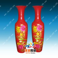 1.2米花瓶图片 红色花开富贵陶瓷花瓶价格 建源陶瓷定做花瓶厂家