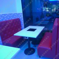 天然大理石电动餐台 人造石旋转火锅餐桌方形火锅桌