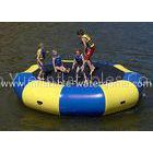 Blue Yellow Inflatable Water Trampoline Heat Welding With Steel Spring