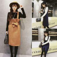 2016秋新款韩版女装修身显瘦打底衫 洋气呢子系带半身裙套装批发