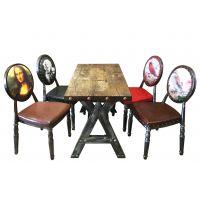 供应广东麦德嘉FG-YB01美式乡村圆背餐椅 靠背带图案的西餐椅子 工业复古铁艺餐椅子 咖啡厅肖像椅