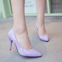 韩国时尚尖头浅口单鞋漆皮糖果色细跟高跟女式高跟鞋性感女鞋子潮