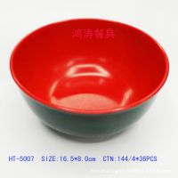 热卖5007密胺红黑双色碗 厂家直销供应7寸面碗适用于各类家庭饭店