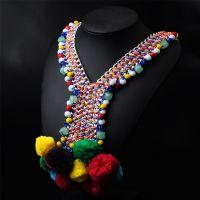 欧美时尚毛球项饰 民族风手工编织镀银项链速卖通货源配饰N0010