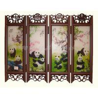 熊猫仿古小屏风批发 居家装饰摆件 商务创意礼品 四川旅游纪念品
