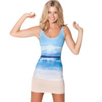 新款韩版吊带背心沙滩海滩平口连衣裙black milk dress速卖通货源