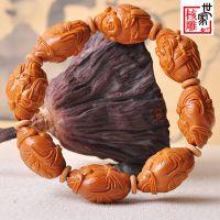 核雕世家 财神 橄榄核雕手串文玩核雕油核雕刻橄榄胡把玩精品2247