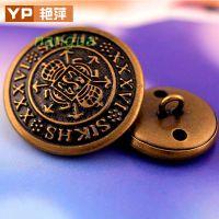15~25MM古铜色 纯金属 铜扣小西装纽扣子 大中小